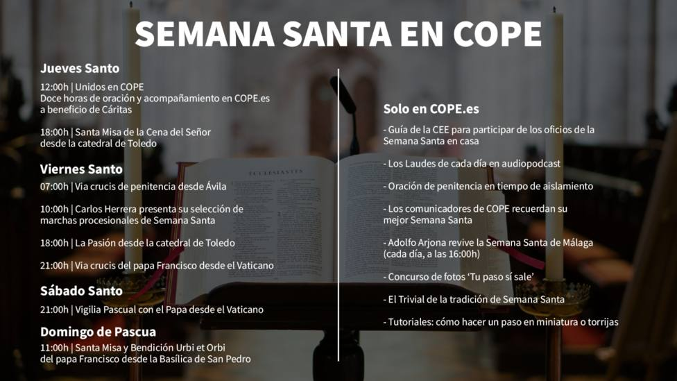 COPE te lleva a casa la Semana Santa con nuevos programas y formatos multimedias