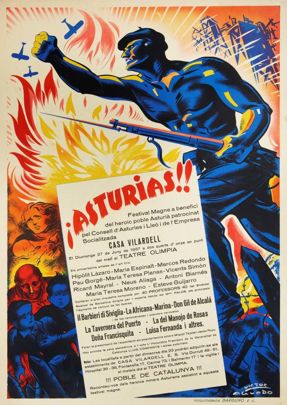 Cartel original sobre la Guerra Civil del año 1937