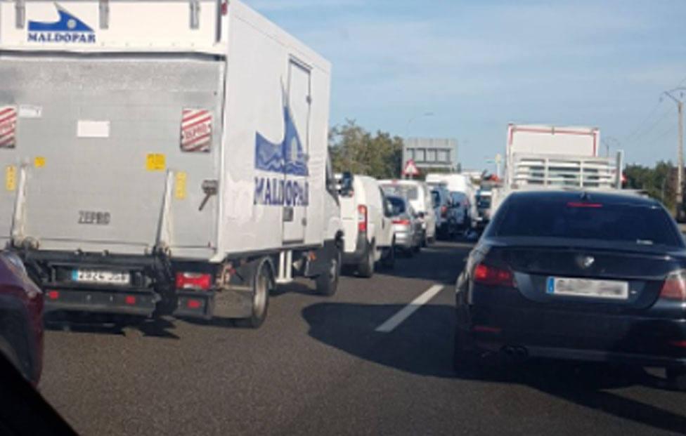Retenciones a la entrada a Palencia desde la carretera a Burgos