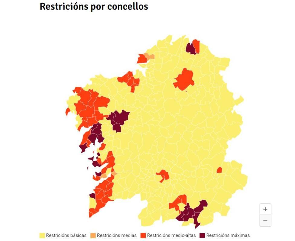 mapa restricciones galicia 13 enero