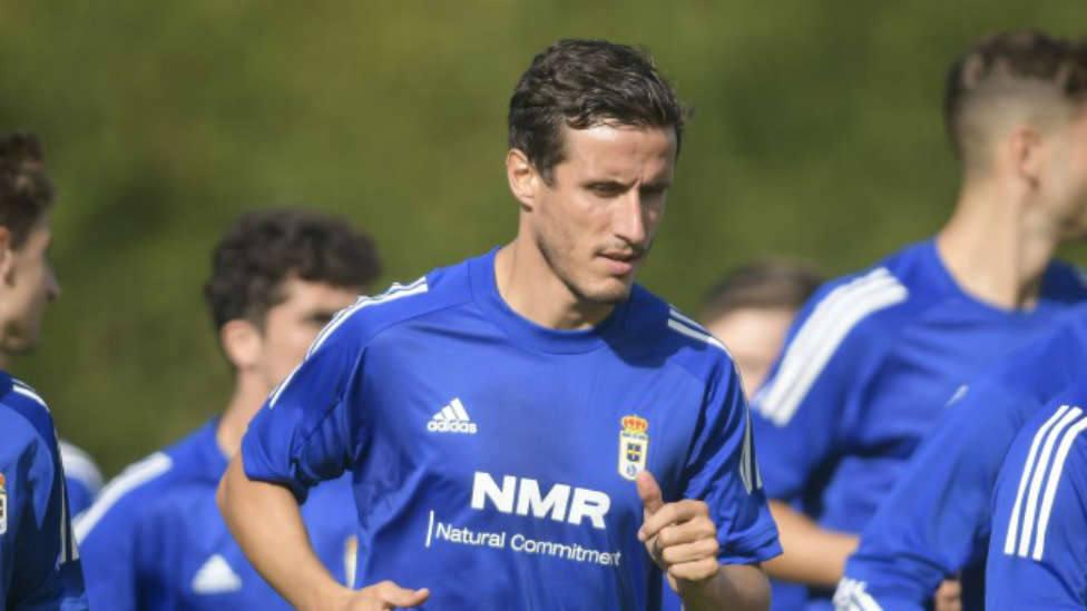 Christian Fernández, en un entrenamiento en El Requexón