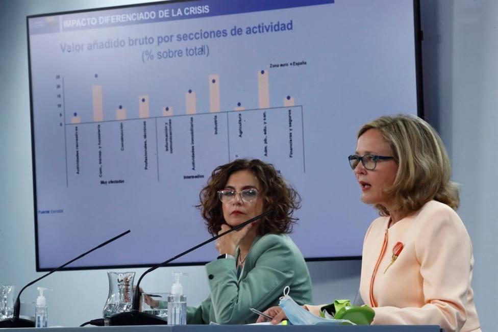 Las ministras de Hacienda y Portavoz y de Economía, María Jesús Montero y Nadia Calviño
