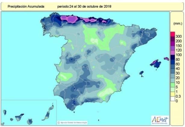 El primer mes del año hidrológico acumula un 25% más de lluvias de lo normal, aunque distribuidas de forma irregular