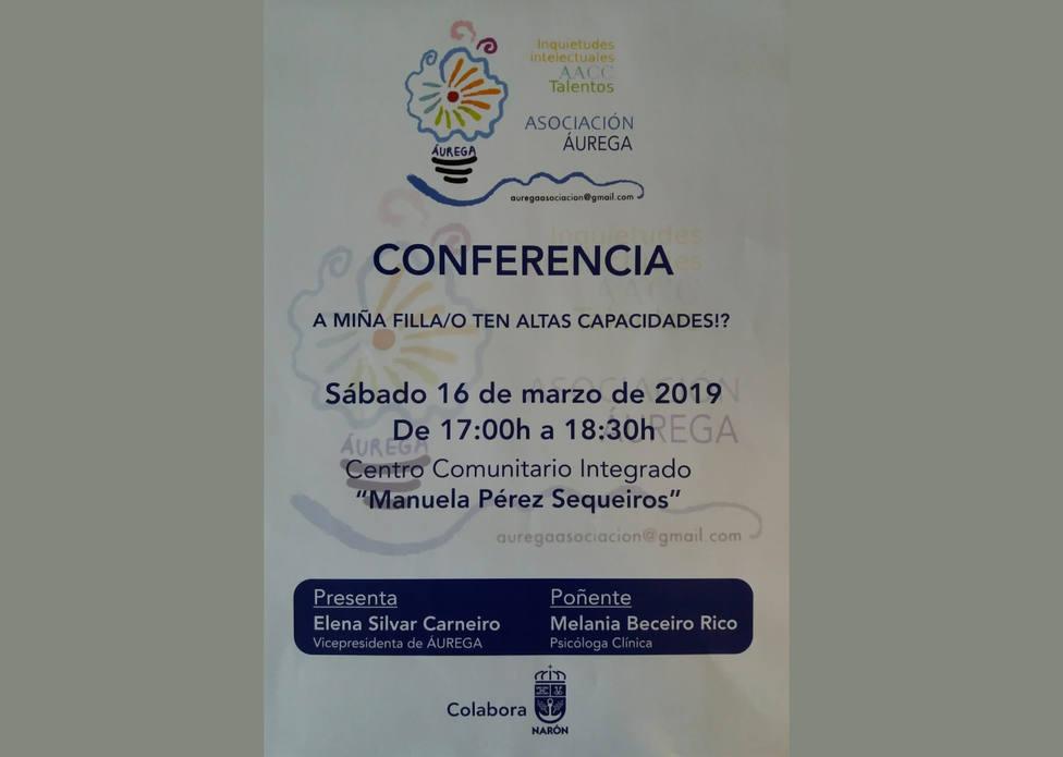 Cartel de la charla organizada este sábado por Áurega