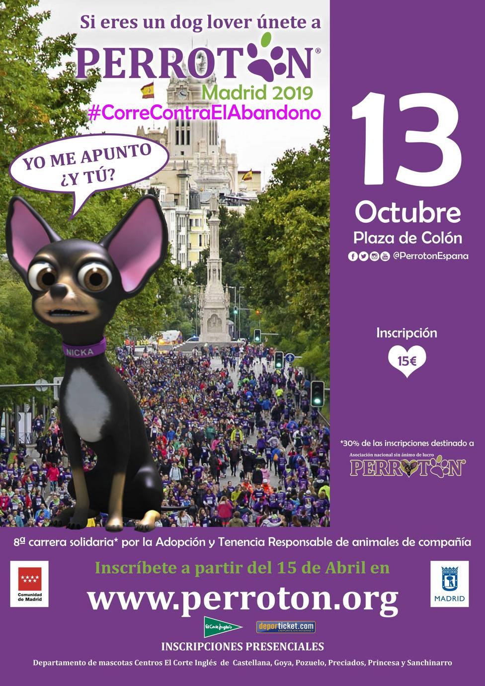 Perrotón Madrid organiza una carrera solidaria en octubre para promover y fomentar la adopción y tenencia responsable