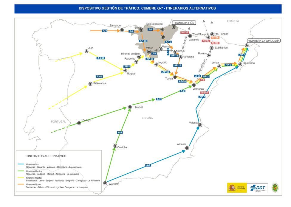 La DGT recomienda evitar el paso fronterizo por País Vasco del 23 al 26 de agosto por la celebración de la Cumbre del G7