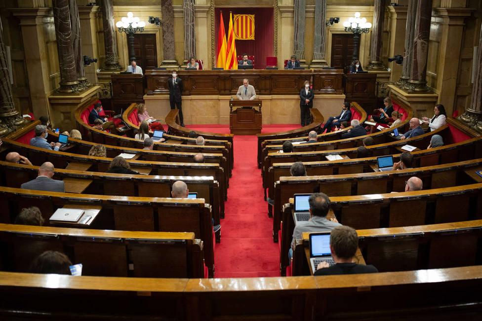 El president de la Generalitat, Quim Torra, durante su intervención en una sesión plenaria.