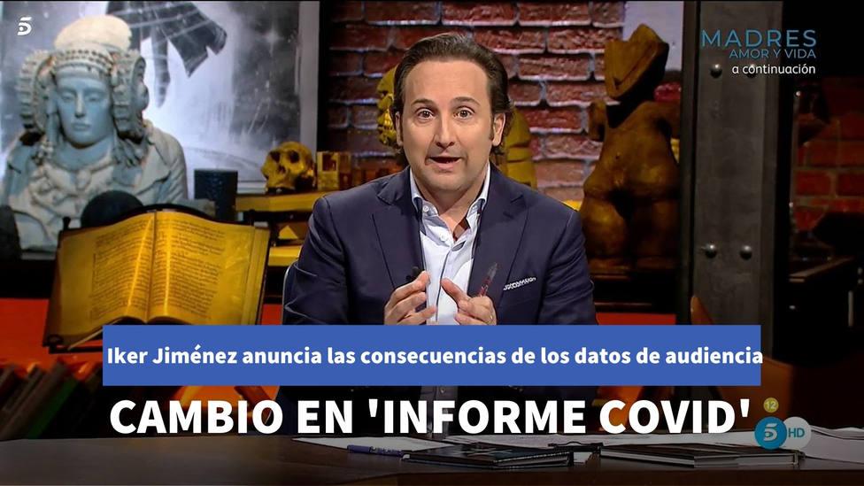Iker Jiménez anuncia un cambio drástico en 'Informe COVID' tras los últimos datos de audiencia