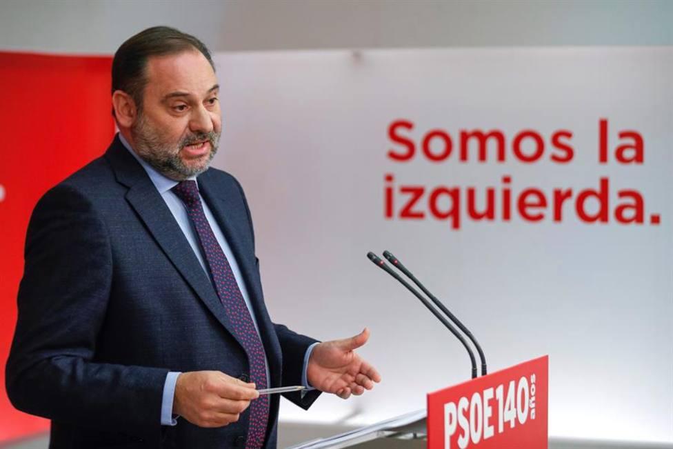 El secretario de Organización del PSOE, José Luis Ábalos, al final de la Ejecutiva del PSOE