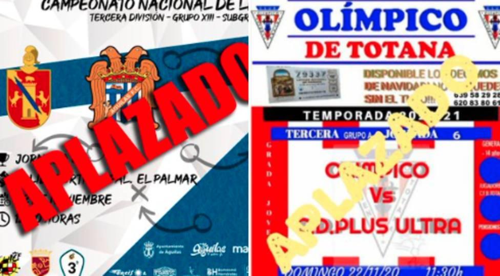 Águilas FC y Olímpico deTotana no jugarán este fin de semana