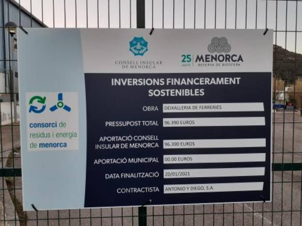 El Consorcio de Residuos y Energía de Menorca finaliza las obras de mejora de la recogida de Ferreries