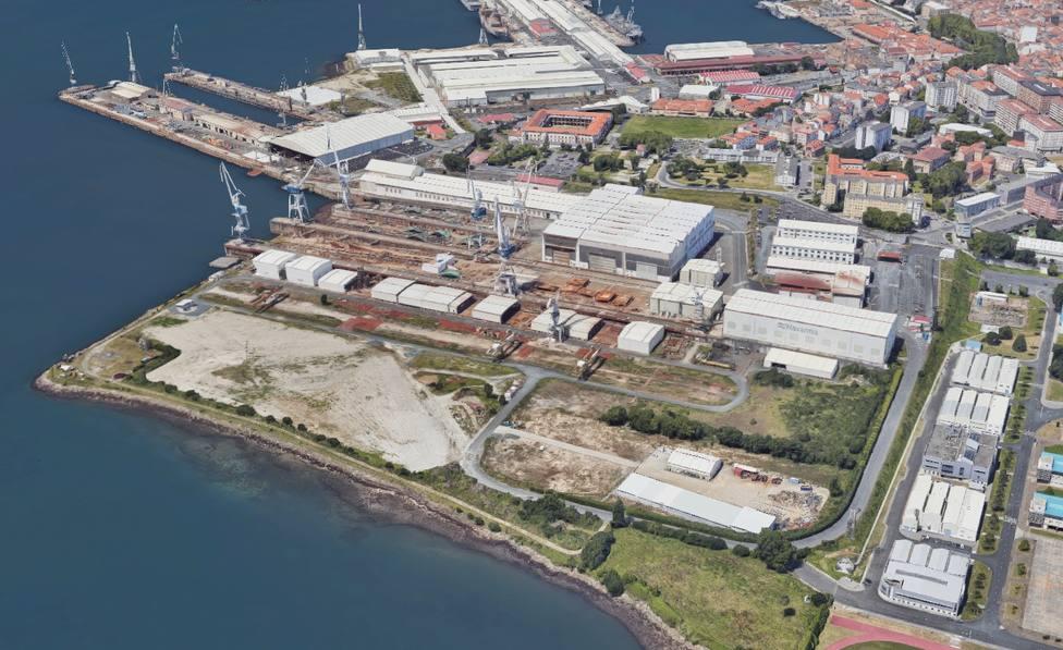 Vista aérea de una de la zonas de Navantia Ferrol