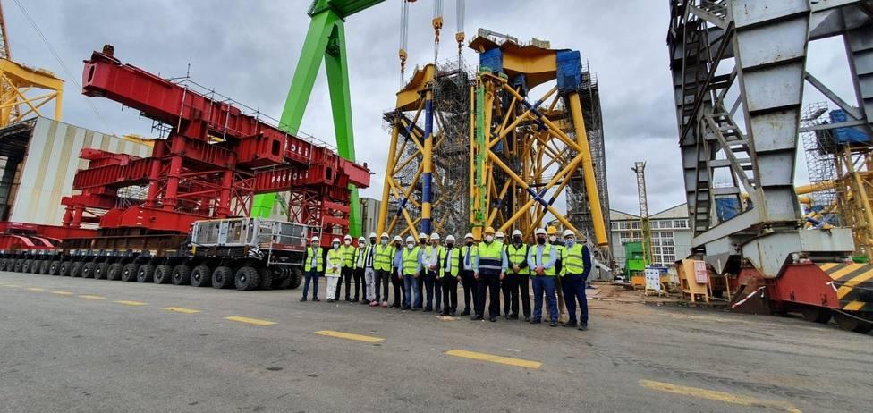 Visita de la delegación de Canarias al astillero de Fene - FOTO: Navantia