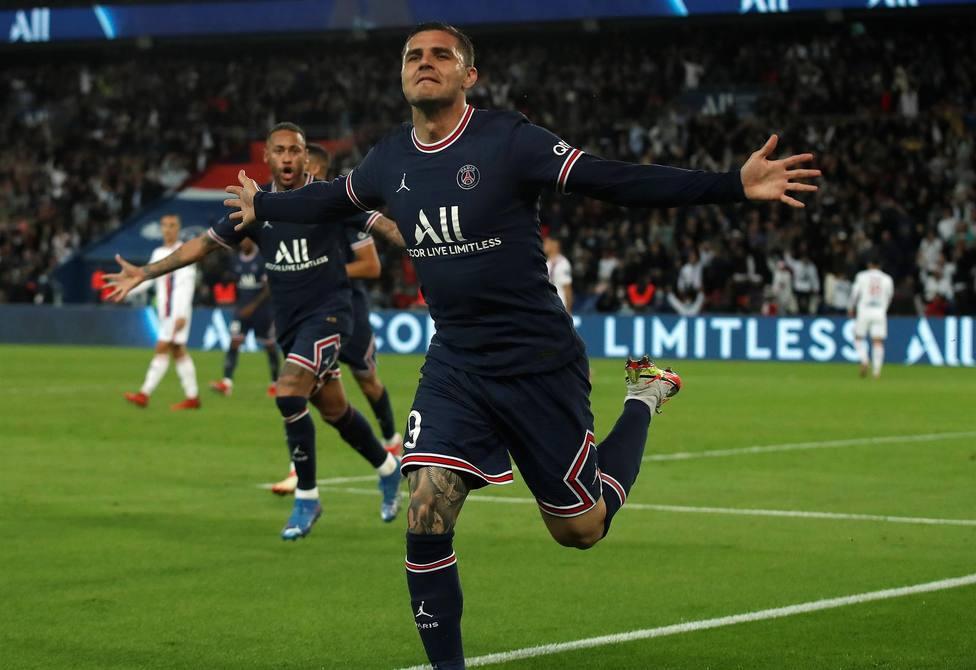 Icardi celebra el gol de la victoria del PSG (EFE)