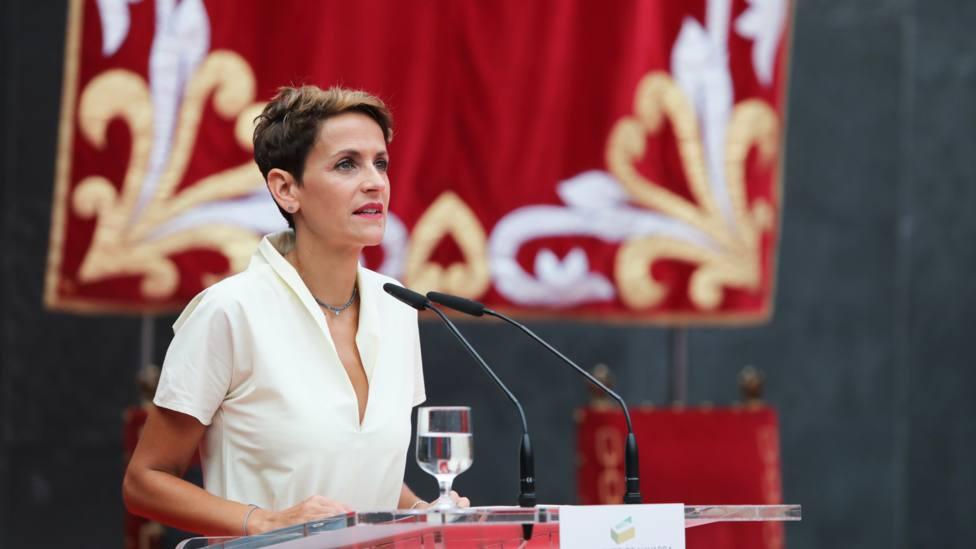 La presidenta de Navarra, María Chivite, en su discurso de toma de posesión | David Domench Europa Press