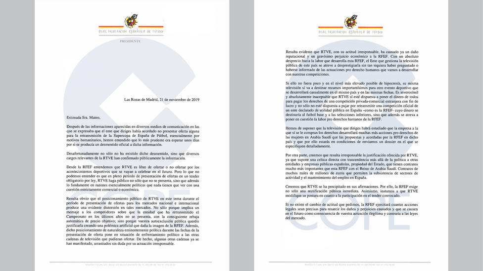 Carta que remite la Federación Española de Fútbol a RTVE
