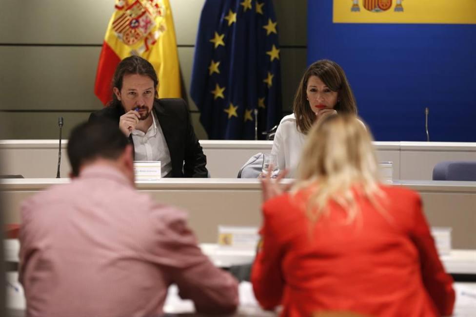 La ministra de Trabajo, Yolanda Díaz, y el vicepresidente Iglesias