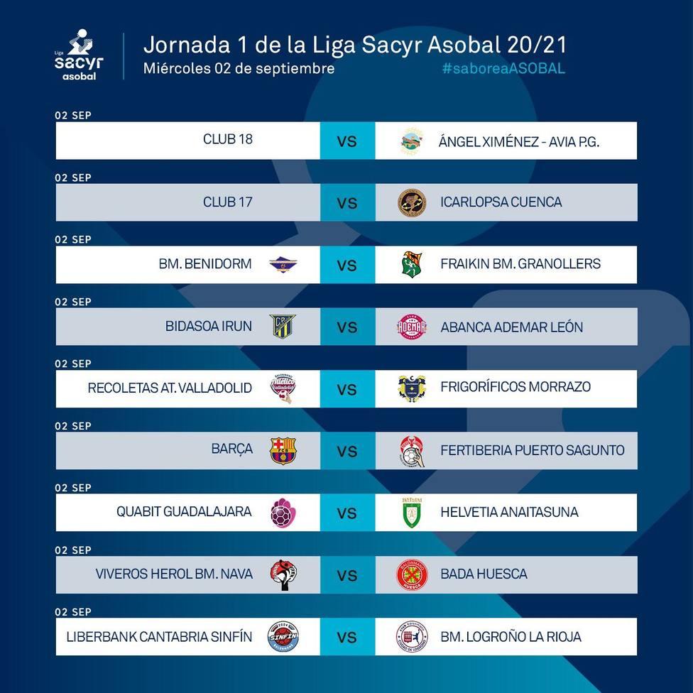 Calendario primera jornada de la ASOBAL