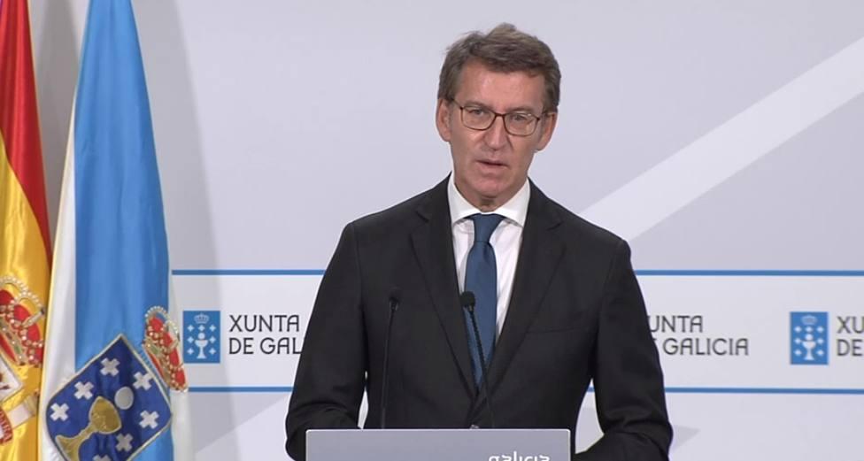 El presidente de la Xunta de Galicia Alberto Núñez Feijóo en rueda de prensa
