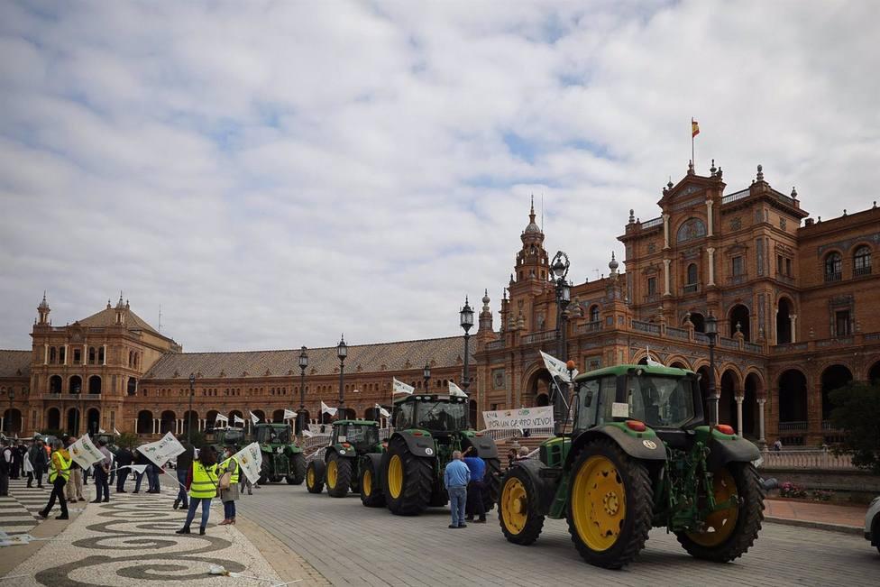 Sevilla.- Unos 600 agricultores y ganaderos y una decena de tractores rechazan la convergencia brusca de la PAC