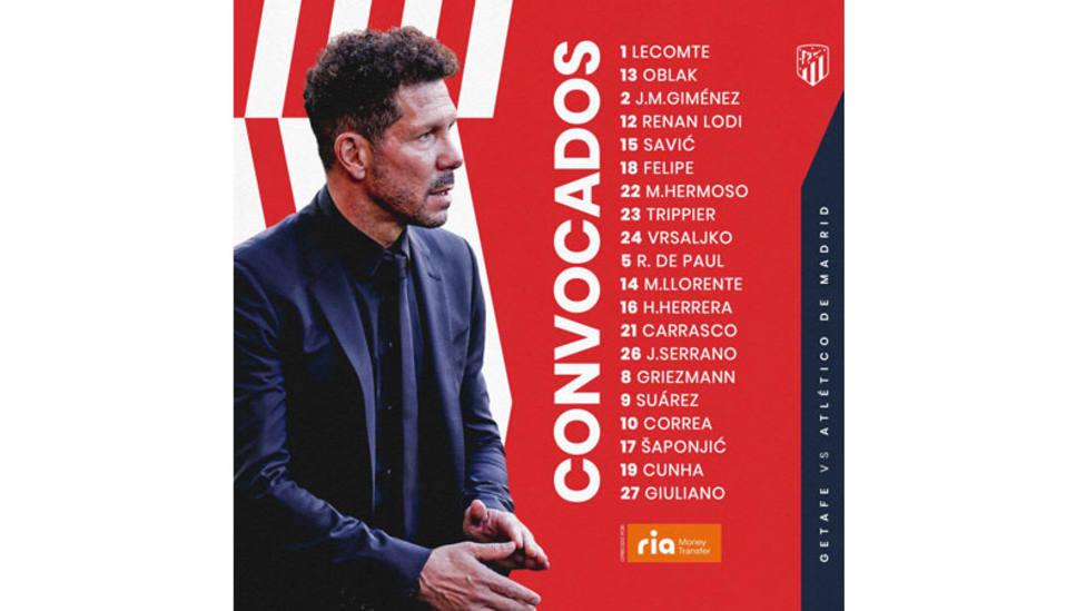 Lista de convocados del Atlético de Madrid contra el Getafe
