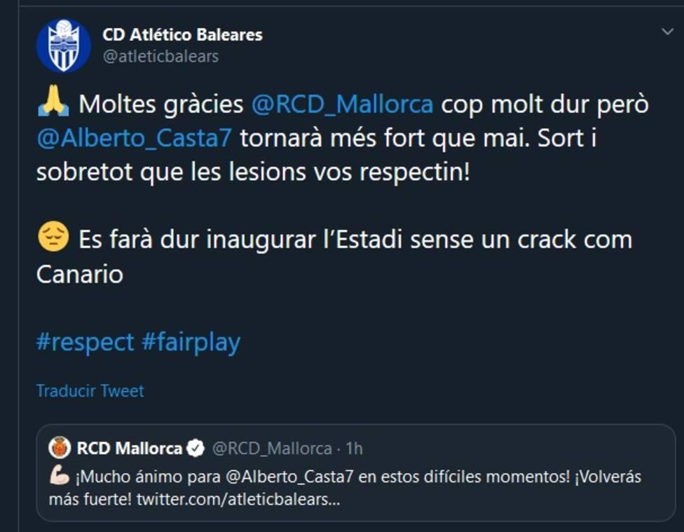 El mensaje entre Atlético Baleares y Real Mallorca