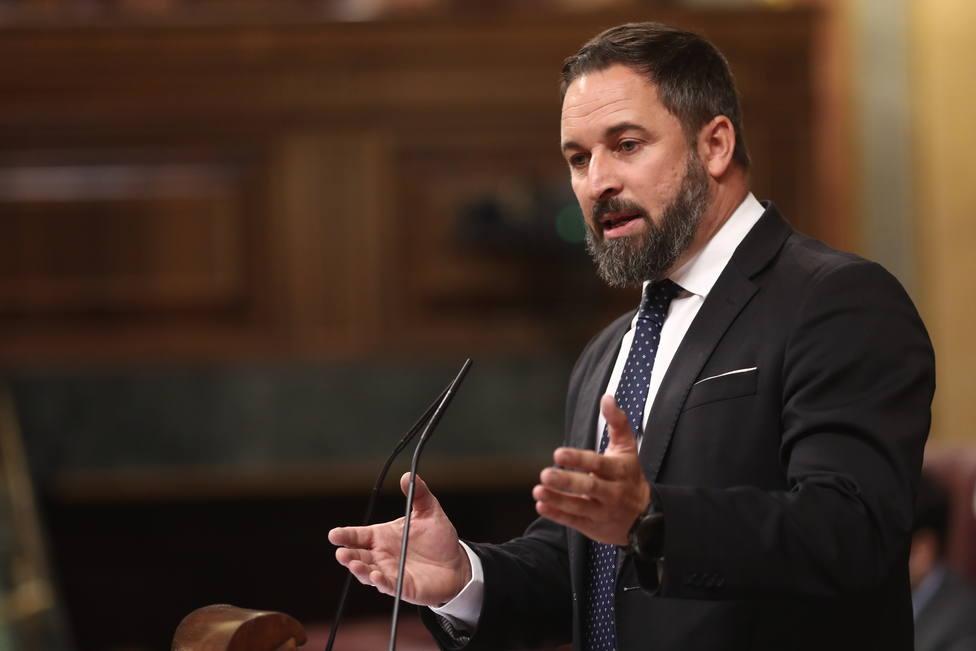 El presidente de Vox, Santiago Abascal, interviene en la sesión de control al Gobierno en funciones, en Madrid (España) a 11 de septiembre de 2019.
