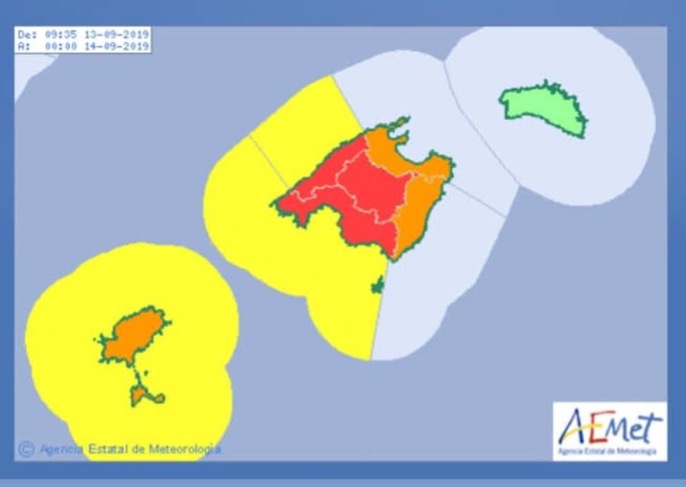Parte de Mallorca, en alerta roja por las tormentas