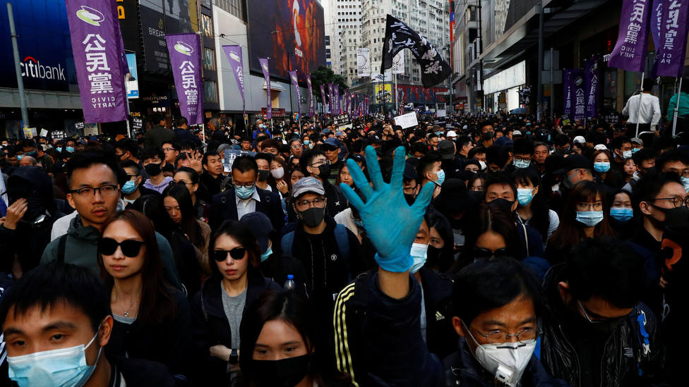 La marcha multitudinaria en Hong Kong