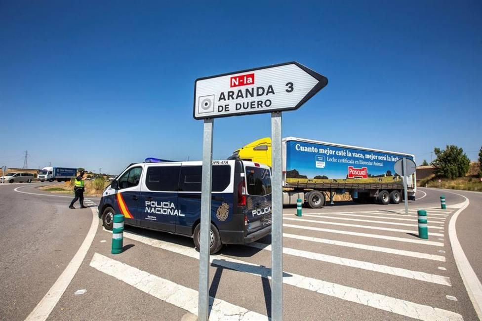 Control policial instalado a la entrada de Aranda de Duero.