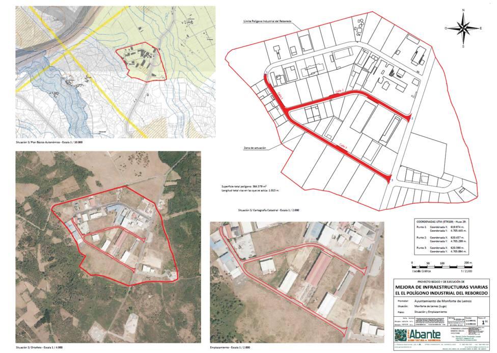 Plano de las obras en el polígono de O Reboredo, en Monforte de Lemos