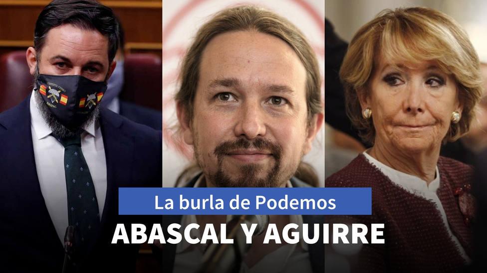 La mascarilla de Abascal con la que Podemos se burla hasta de Esperanza Aguirre