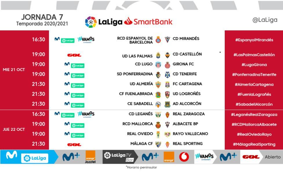 LaLiga modifica los horarios de la 7ª jornada en Segunda y no se jugará el martes