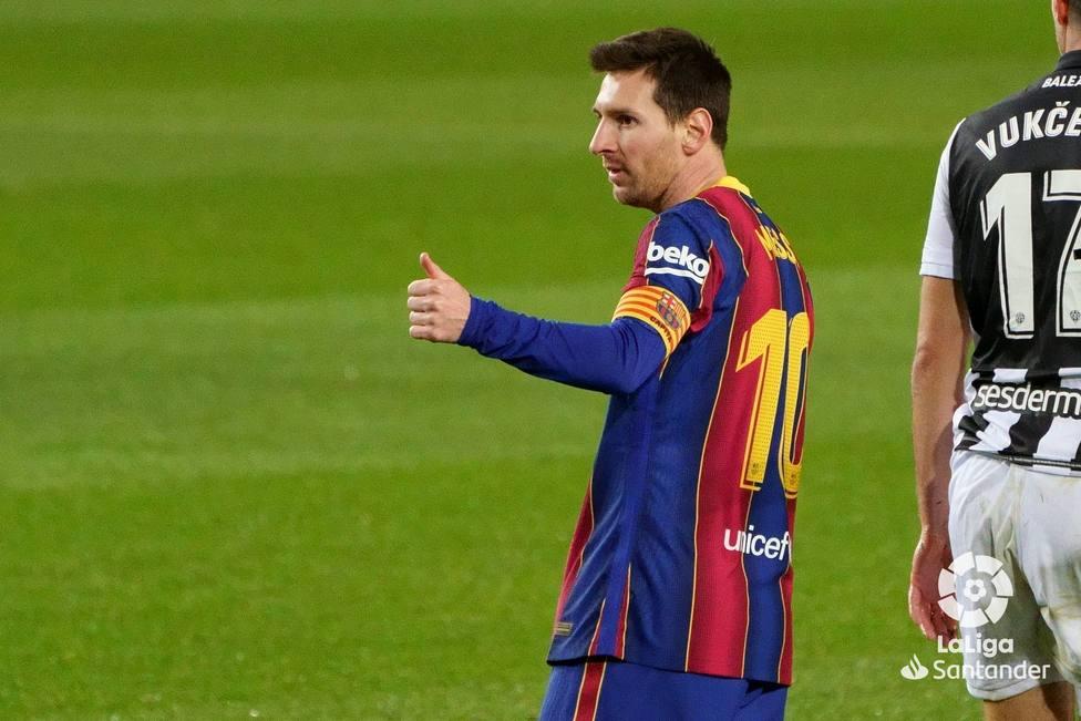Messi celebra el 1-0 ante el Levante UD