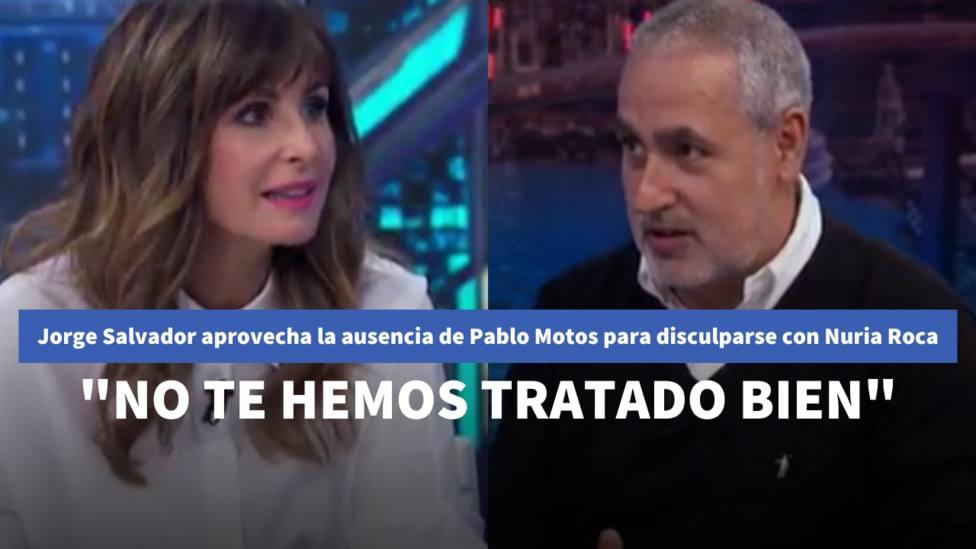 Jorge Salvador aprovecha la ausencia de Pablo Motos para disculparse con Nuria Roca: No te hemos tratado bien