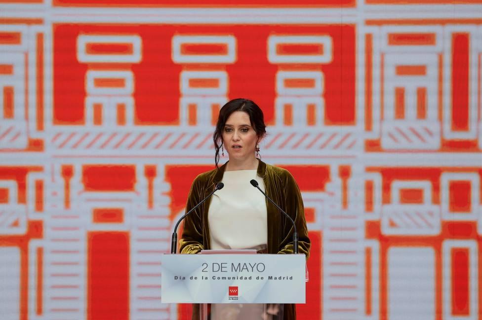 Ayuso en al acto de entrega de Medallas de la Comunidad de Madrid y Condecoraciones de la Orden del 2 de mayo