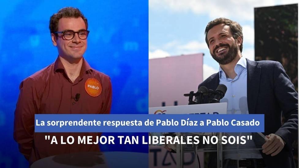 La sorprendente respuesta de Pablo Díaz de Pasapalabra a Pablo Casado: A lo mejor tan liberales no sois