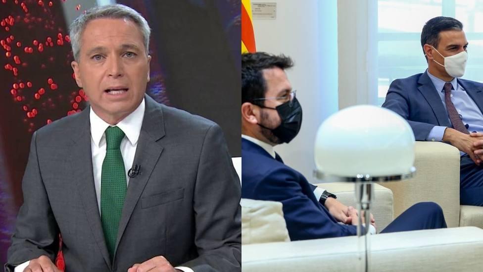 Vicente Vallés corta el informativo para mandar un consejo a Sánchez tras su reunión con Aragonés: No sabe
