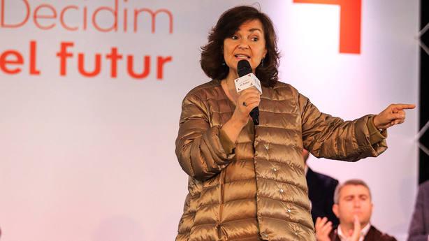 La vicepresidenta del Gobierno, Carmen Calvo, durante su participación en un acto con los candiatos y candidat