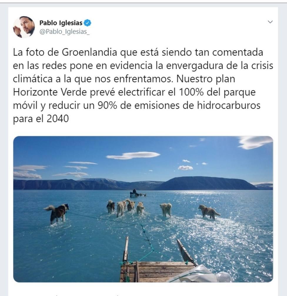 Iglesias alerta de la envergadura de la crisis climática y exige medidas como más coches eléctricos y menos emisiones