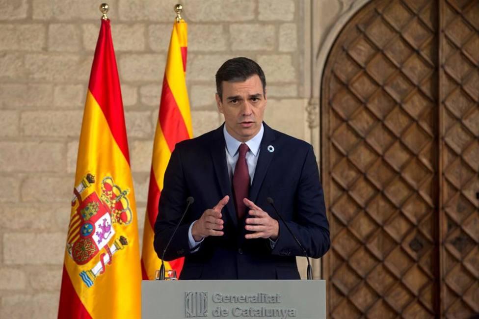 Pedro Sánchez, durante su comparecencia ante los medios tras la reunión mantenida con el presidente de la Gen