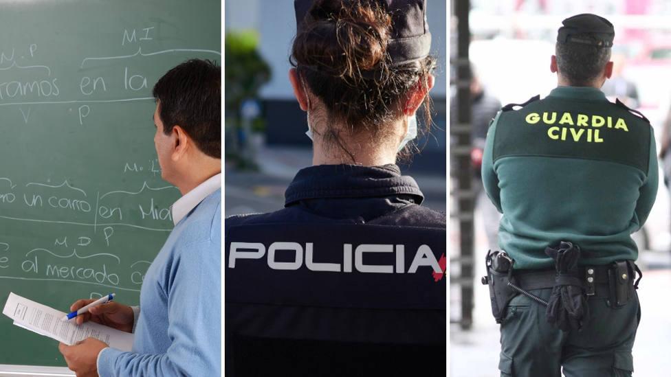 Profesor y agentes de la Policía Nacinoal y la Guardia Civil