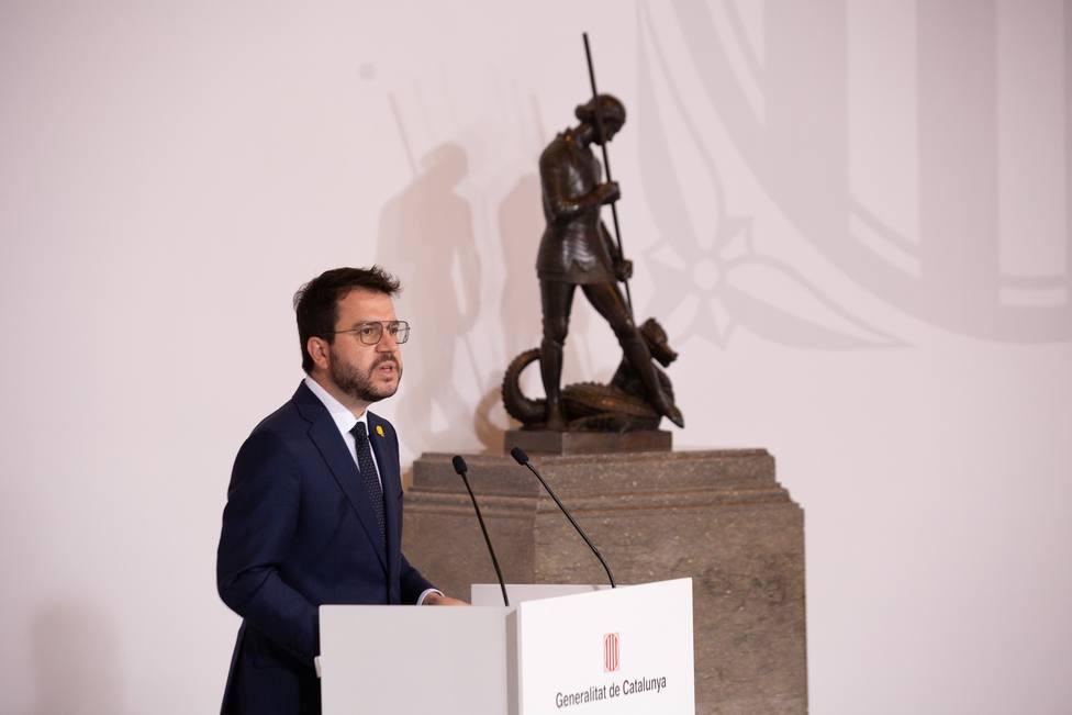 El presidente de la Generalitat, Pere Aragonès, en el acto de toma de posesión de los nuevos consejeros