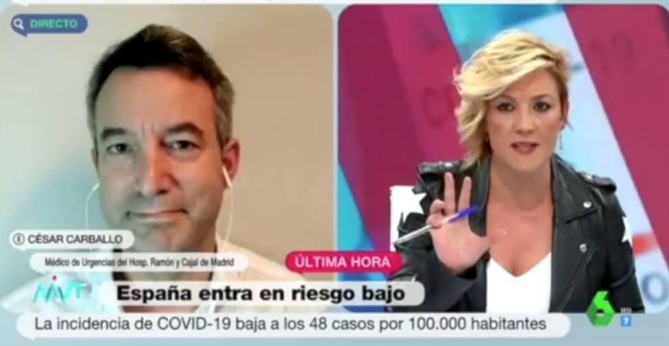 El doctor Carballo pone fecha al fin de las mascarillas en La Sexta ante la atenta mirada de Cristina Pardo