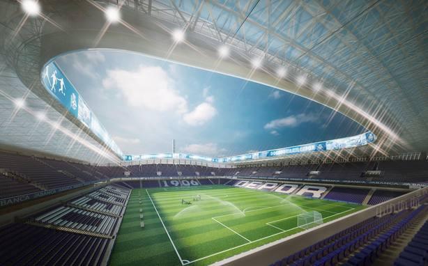 Imagen virtual del estadio de Riazor tras la reforma