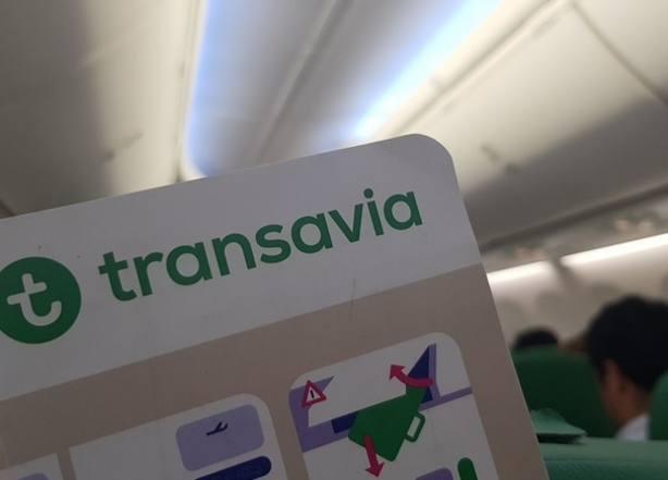 Imagen del interior de un avión de Transavia, Foto Twitter