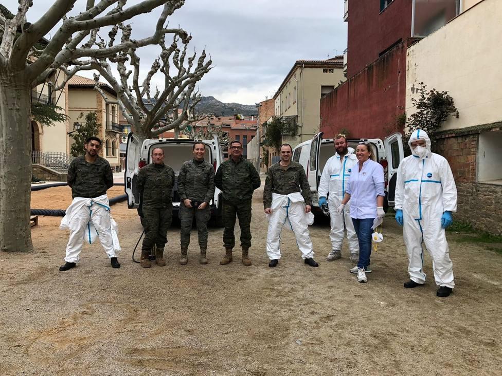 El Ejército desinfecta residencias en Badalona y la Pobla de Segur, las primeras en Cataluña