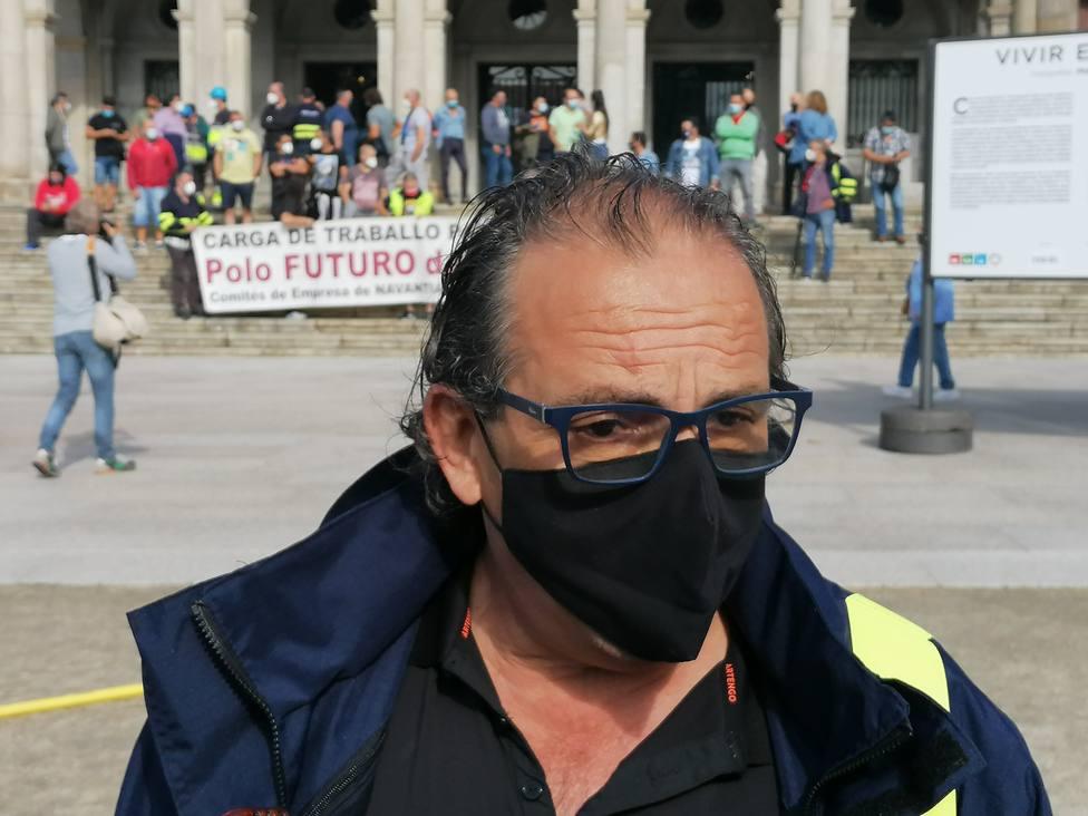 Javier Galán durante la útima protesta de los trabajadores de Navantia