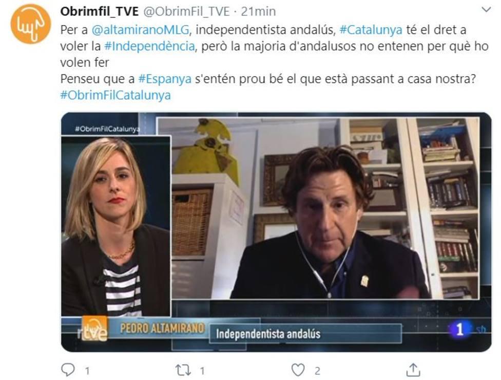 Pedro Altaminaro entrevistado en TVE en el circuito catalánen un programa sobre Cataluña