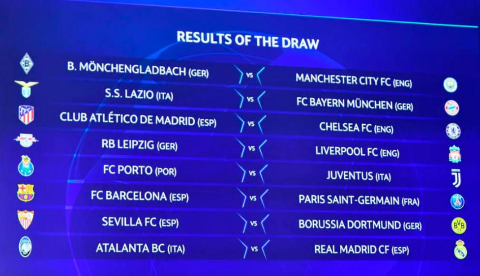 Atalanta-Real Madrid; Barcelona-PSG, Atlético-Chelsea y Sevilla-B.Dortmund, octavos de final de Champions